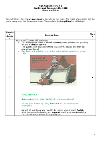 AQA GCSE History Conflict & Tension 1894-1918 QUESTION GUIDE
