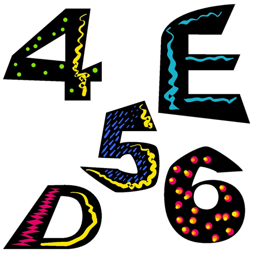 Alphabet and Numbers Clip Art - Funky Alphabet and Numbers Clip Art