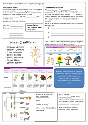 Classification - AQA GCSE Biology revision resource on classification
