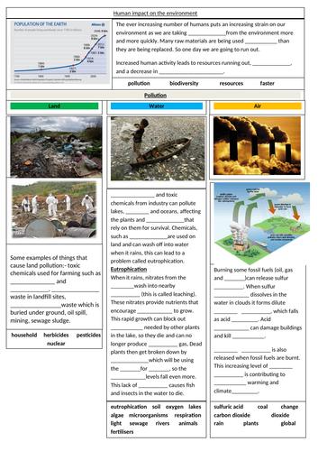 Human Impact - AQA GCSE Biology revision sheets on Human impact on the environment