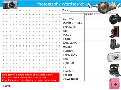 Photography #2 Wordsearch Sheet Starter Activity Keywords Cover Art & Design