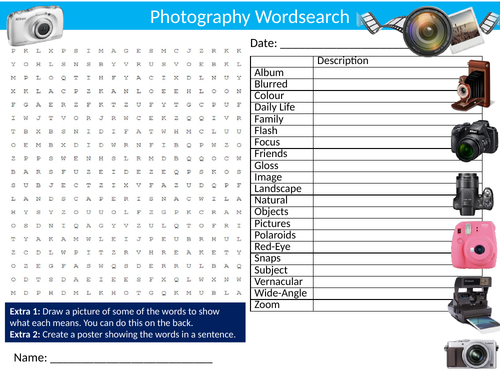 2x Photography Wordsearch Sheets Starter Activity Keywords Cover Art & Design