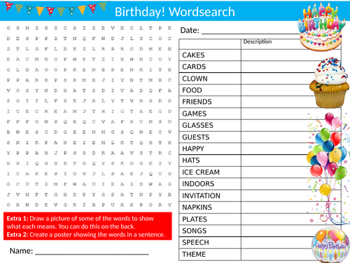 Birthday Wordsearch Sheet Starter Activity Keywords Cover Celebration Party