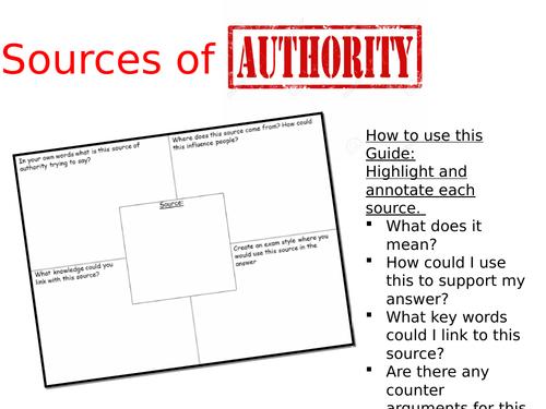 eduqas route B source of authority booklet