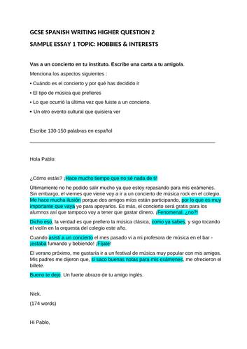 4 GCSE SPANISH HIGHER TIER ESSAYS WITH TRANSLATION