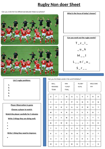 Rugby - non doer sheet
