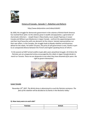Canada: A People's History - Episode 7- Rebellion and Reform - Supporting Worksheet
