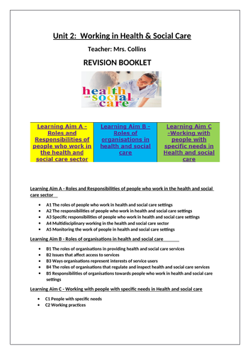 Health 2 Work.A Comprehensive Revision Booklet Unit 2 Working In Health Social