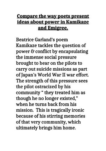 GCSE 9-1 Exemplar Grade 9 essay Poetry  Power and conflict Kamikaze & Emigree