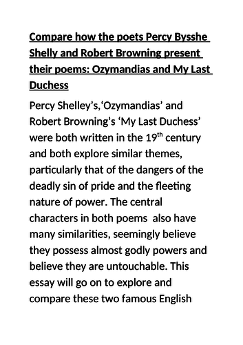 GCSE 9-1 Exemplar Grade 9 essay Power and conflict  Ozymandias & My last duchess