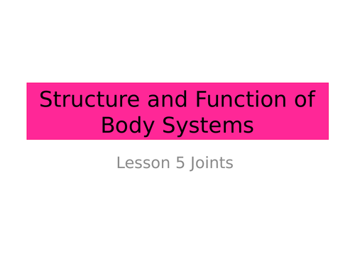 Joints - AQA Activate