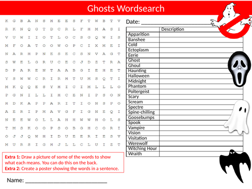 7 x Scary Horror Wordsearch Sheet Starter Activity Keywords Cover Halloween