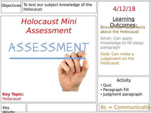 KS3 History: Holocaust Mini Assessment Lesson