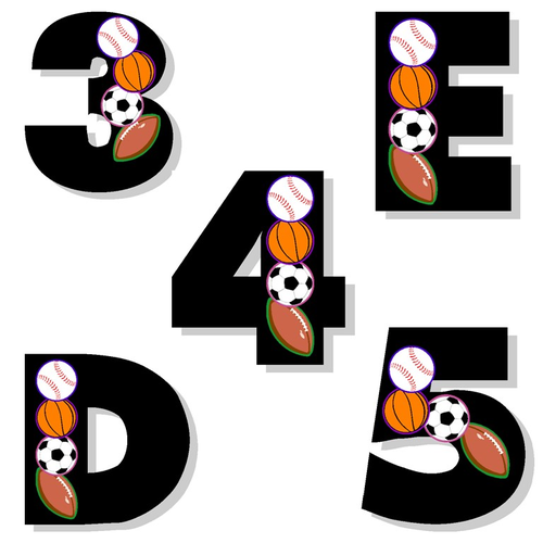 Alphabet and Numbers Clip Art - Sports Alphabet and Numbers Clip Art