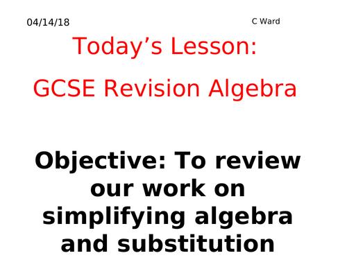WHOLE LESSON FOUNDATION REVISION: ALGEBRA BASICS