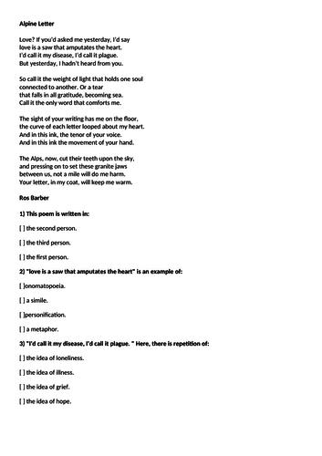 "Unseen Poetry, ""Alpine Letter"" Ros Barber, pre-reading, homework, starter, multiple-choice quiz"