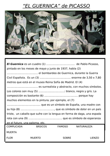 GUERNICA info sheet READING FILL IN BLANKS