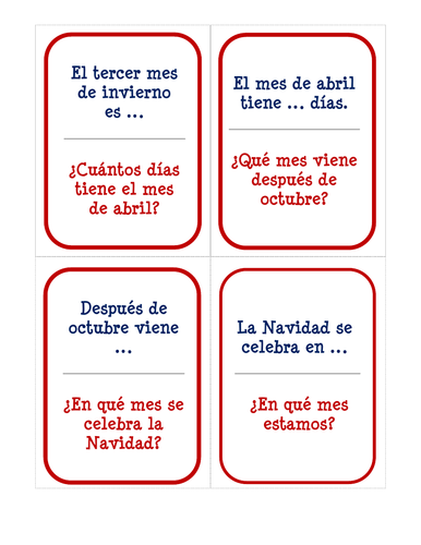 El calendario - Card Game