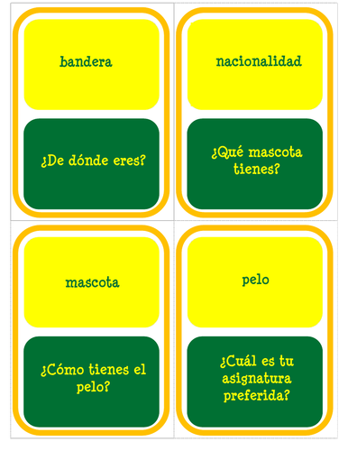 Mi personalidad - Intermediate Version - Card Game