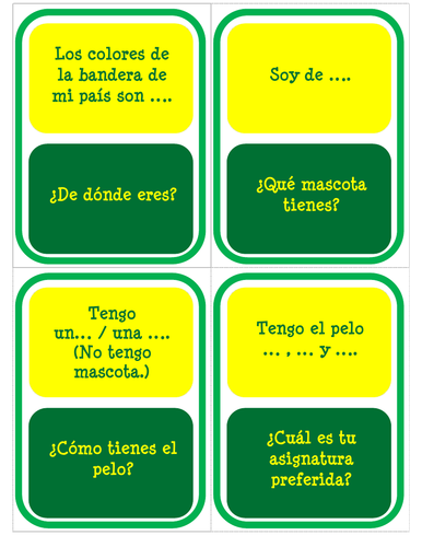 Mi personalidad - Beginner Version - Card Game