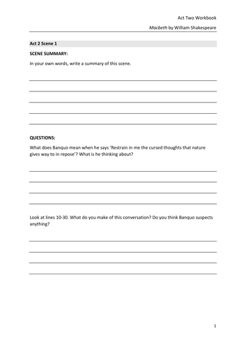 Macbeth Act Two Workbook (GCSE)