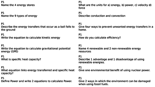 AQA Combined Science Paper 1 Physics Revision cards