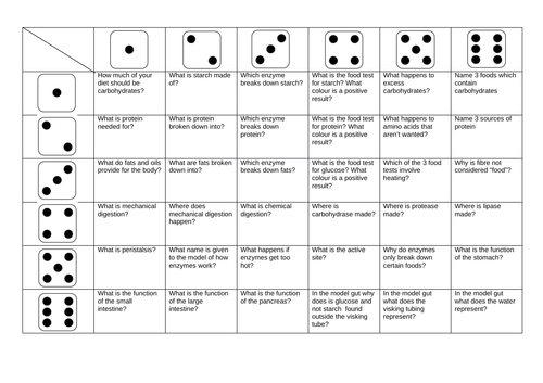 Biology Digestion Revision Dice Games