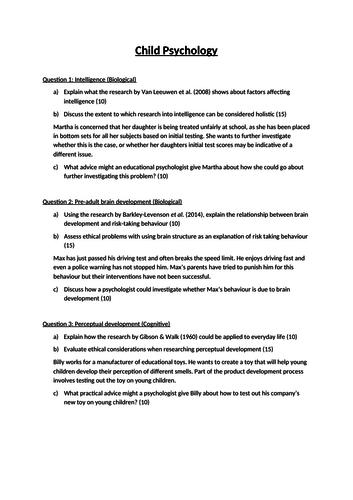 OCR Unit 3 Optional Topics - Child Psychology Practice Questions