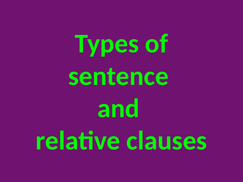 Relative clauses, main clauses and subordinate clauses