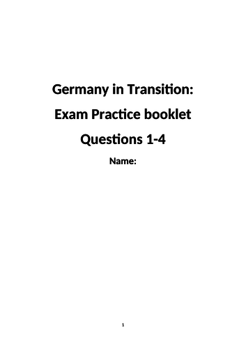 Eduqas History GCSE: Germany in Transition, Revision Pack