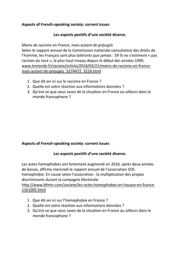 A Level French Speaking Exam Preparation - Year 13 Topics