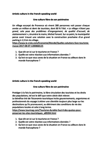 A Level French Speaking Exam Preparation - Year 12  and 13 Topics