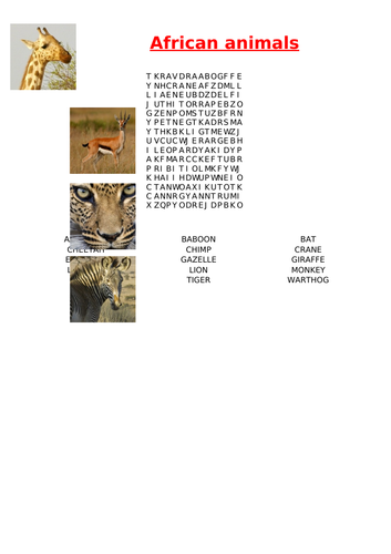 African animals wordsearch