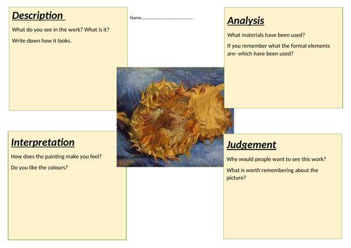 Van Gogh Sunflowers thinking sheet
