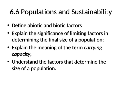 OCR A-level biology A  Populations and sustainability and ecosystems resources ( 6.5/6.6)