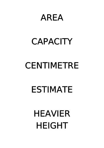 Measure -  Key Vocabulary for Classroom