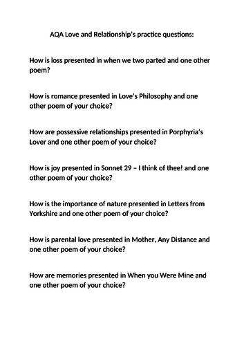 Practice questions - AQA Love and Relationships cluster