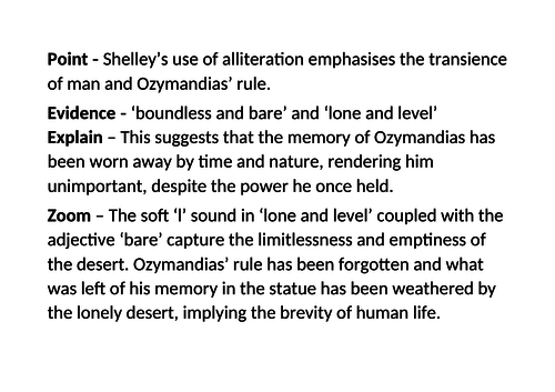 Example paragraph of analysis on the poem 'Ozymandias'