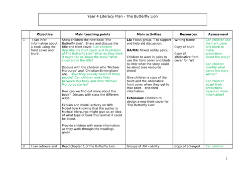 Butterfly Lion KS2 Literacy Full Plan with Resources - 24 lessons
