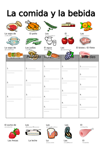 SPANISH FOOD and DRINK categories - worksheet