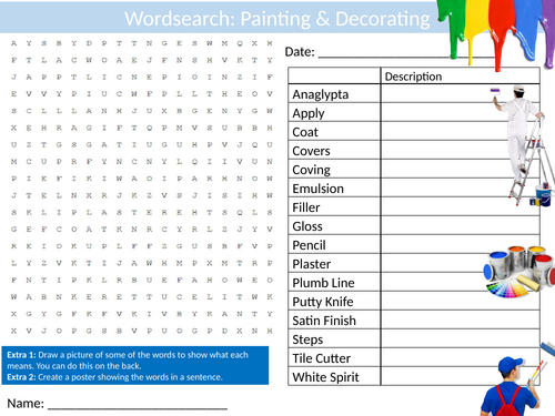Secondary work experience resources painting and decorating wordsearch sheet starter activity keywords cover careers malvernweather Images