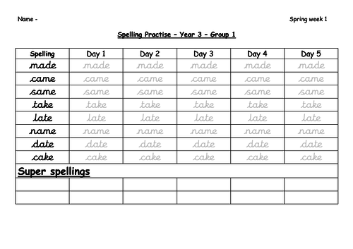 Year 3 Spring 1 Spelling Practice Sheets