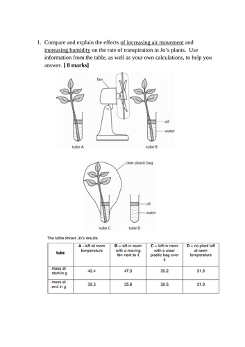 OCR A-level  A (3.3) Transport in plants extended transpiration question
