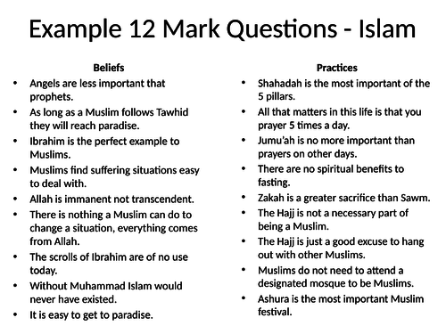 AQA GCSE RS Spec A (1-9) 12 Mark Question Practice inc. planning help – Christianity and Islam