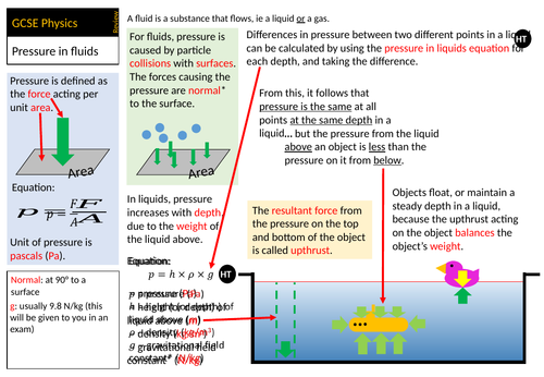 GCSE (1-9) Physics and Combined Science revision - pressure in fluids