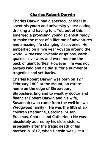 Charles Darwin Biography Year 6