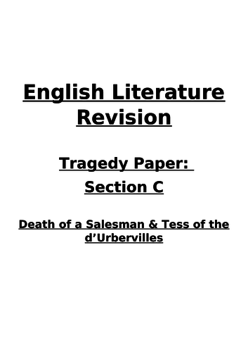 Tess of the d'Urbervilles & Death of a Salesman Revision Booklet-AQA