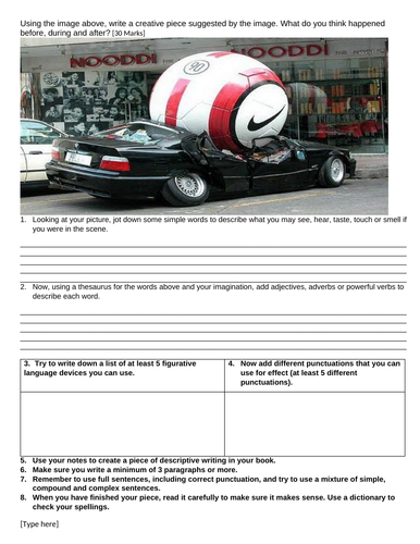 giant football creative writing with prompt