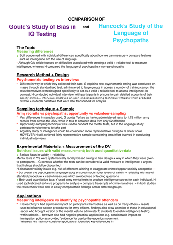 Psychology AS/A-Level: Evaluative Comparison of Gould's study and Hancock's study (Individual area)