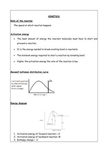 GCE/IAL CHEMISTRY UNIT 2 - KINETICS